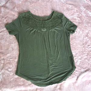 Short sleeve, green, lace shirt